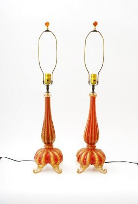 Rare Pair Of Lamps By Barovier & Toso