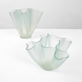2 Pietro Chiesa Cartoccio Vases/vessels, Murano
