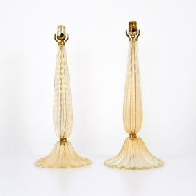 Pair Of Barovier & Toso Lamps