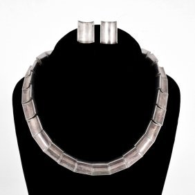 Antonio Pineda Sterling Silver Necklace And Earrings