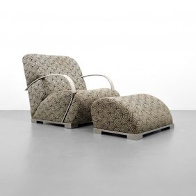 Lounge Chair & Ottoman Attributed To Milo Baughman