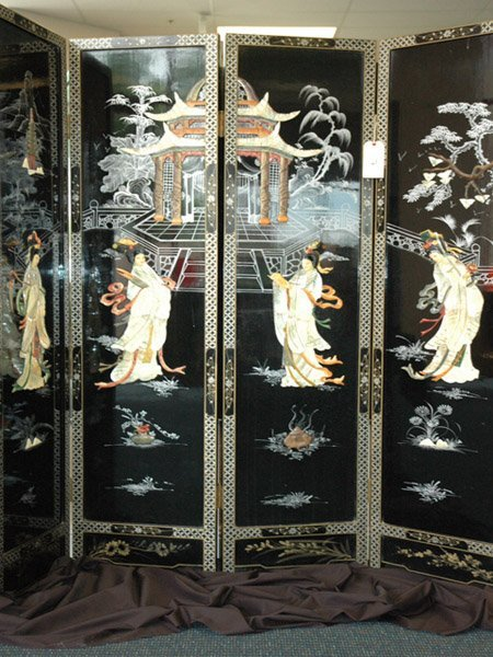 11 Japanese Four Panel Black Lacquer Screen C 1900s