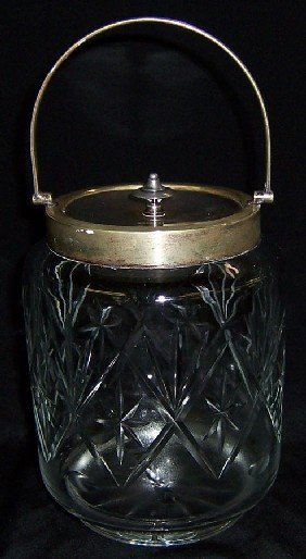 English Cut Glass Biscuit Jar