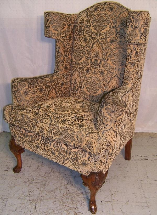 279 Woven tapestry fabric Queen Anne wingback chair
