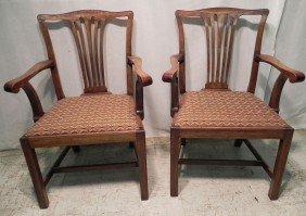 Pr Mahog Straight Leg Chippendale Arm Chairs.