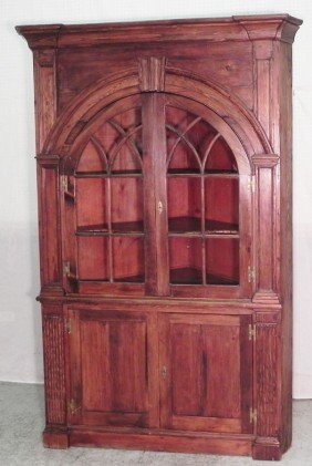 18th C. Gl. Door So. Pine Arch. Corner Cabinet.
