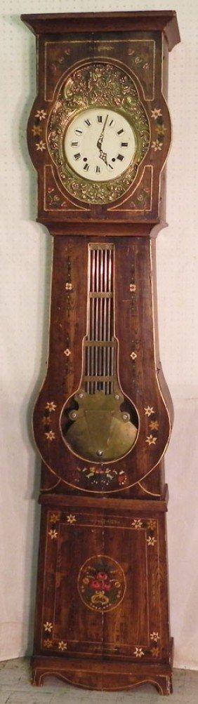 French Grandfather Clock W/ Grain Pntd Case.