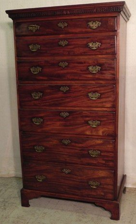 7 Drawer Tall Irish Chippendale Chest.
