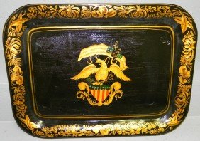 Tole Painted Tray, Signed M. Binney.