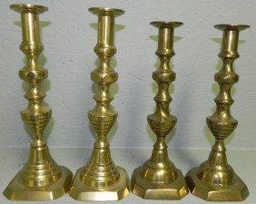 (2) Pr 19th C. Brass Pushup Beehive Candlesticks.