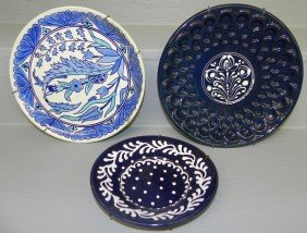 Turkish Plate And Two Stoneware Plates