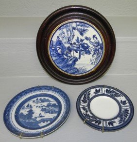 Framed Canton Plaque And Mottahedah Plate