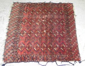 """3'2"""" X 3'5"""" Turkoman Antique Rug, As Is."""