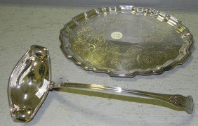 Barker Ellis Oval Tray And Silver Plated Ladle