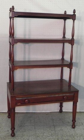 Mahogany Four Shelf Dumbwaiter With Drawer