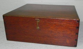"Fitted Mahogany Box. 9 1/2"" X 11"" X 4 1/2"" Tall."