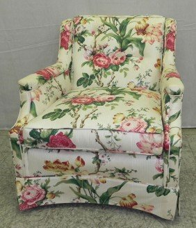 Chintz Covered Tufted Back Boudoir Chair.