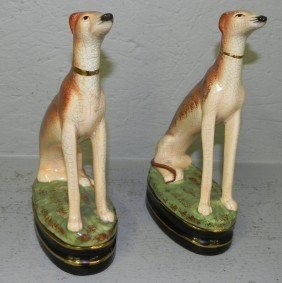 Pair Of Whippet Decorator Figurines.