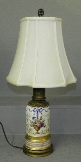 Early Old Paris Urn Converted To Lamp.