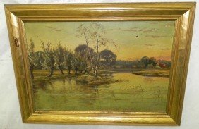 Gilt Framed Decorated Oil On Canvas Of Lake Scene.