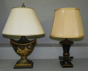 Two Tole Decorated Lamps