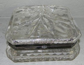 "Cut Glass Dresser Box. 6 1/2"" X 6 3/4""."