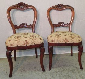 Pair Of Rose Carved Victorian Chairs.