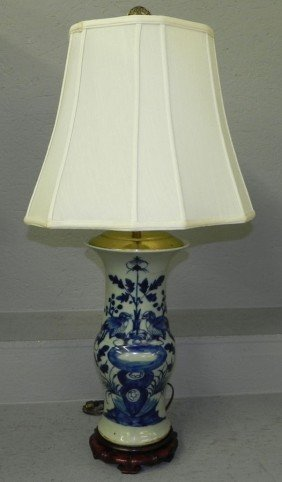 "Blue And White Export Lamp. 32"" Tall."