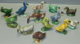 13 Miniature Goose Figurines.