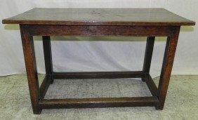 18th C English Oak Stretcher Base Tavern Table.