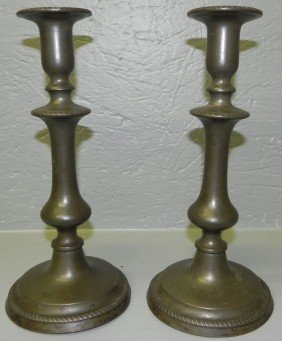 Pair Of Early Pewter Candlesticks.