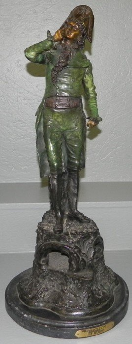 Signed Morise Cast Metal Figurine Of Napoleon