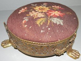 Antique Brass Framed Needlepoint Claw Foot Stool.