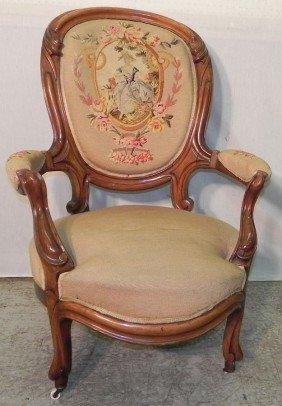 Beautiful Needlepoint Walnut Victorian Arm Chair.