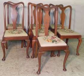 7 Needlepoint Q. Anne Mahog. Dining Chairs.