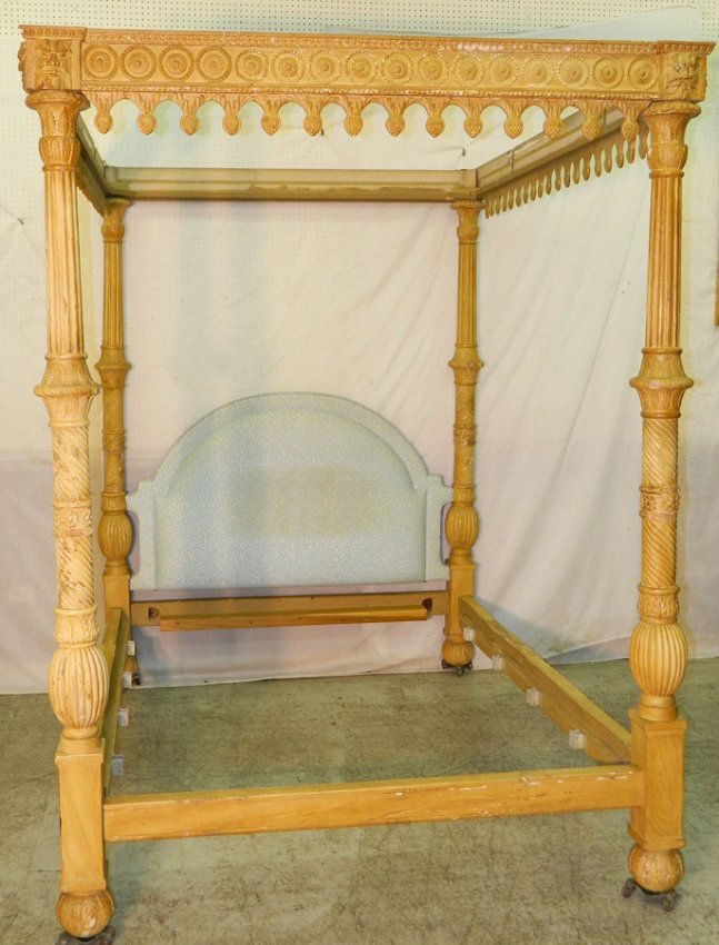 528 painted french style queen size canopy bed lot 528 for French style gazebo