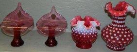 Pr Cranberry Vases, Signed  & 2 Hobnail Vases