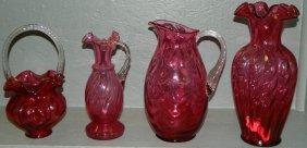 (2) Cranberry Pitchers, Trumpet Vase And Basket