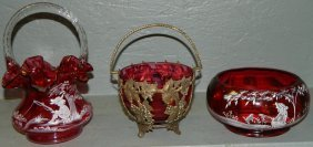 2 Pcs Mary Gregory & Cranberry Dish/metal Basket