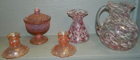 Art Glass Pitcher, Vase, Opalescent C/sticks, Dish