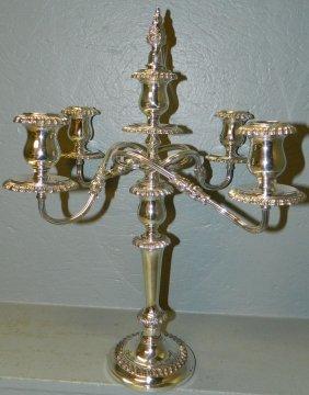 "5 Branch Silver Plate Candelabra 20 1/2"" Tall"