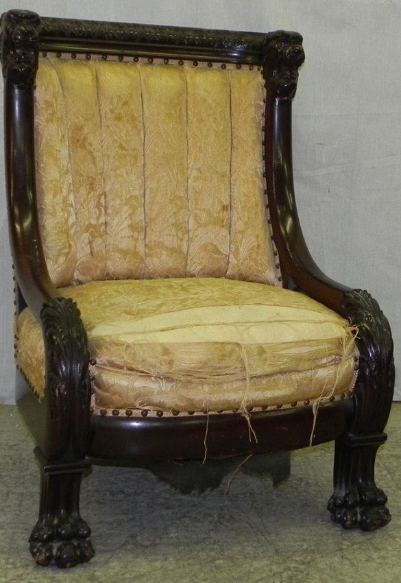 1048c Lions Head Carved Claw Foot Mahog Parlor Chair