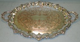 Large 2 Handle Silver On Copper Tray.