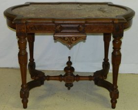 Victorian Walnut Turtle Top Marble Inset Table.