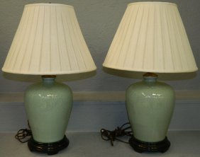 Pair Of Chinese Celadon Lamps.