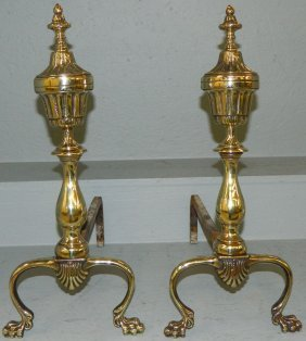 Pair Of Polished Brass Andirons.