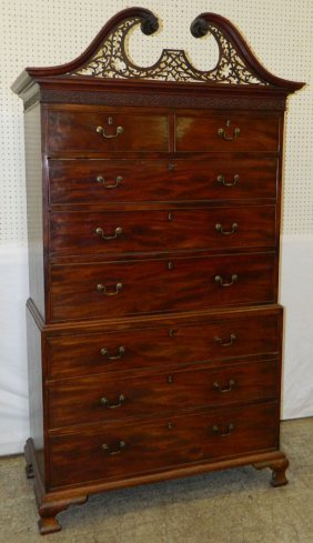 19th C. Irish Chippendale Chest On Chest