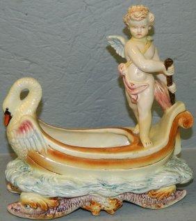Carlos Ortiz Majolica Swan Boat With Cherub.