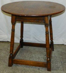 Toc English Oak Stretcher Base Cricket Table.