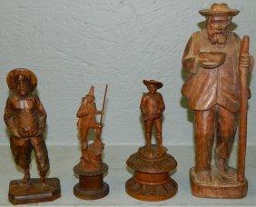 4 Carved Wood Figures.